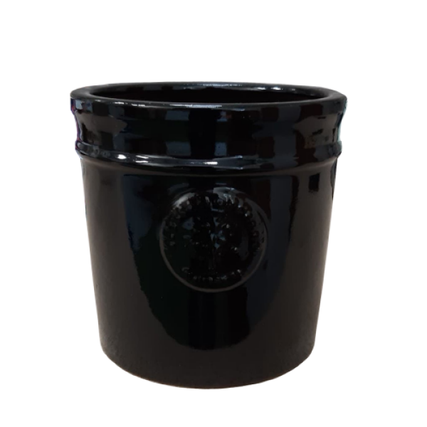 Blossom Orchard Garden - Medium Black Cylinder Planter