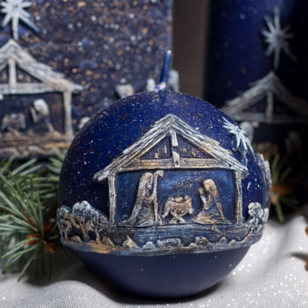 Christmas Candle Gift - Christmas Town Navy Blue Sphere