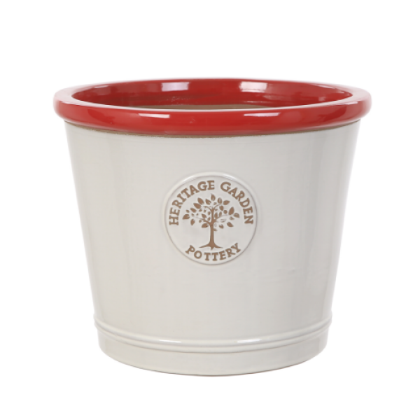 Edwardian Collection - Medium White Pot with Red Rim Planter