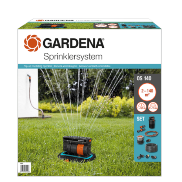 Gardena - Complete Set with Oscillating Pop-up Sprinkler OS 140