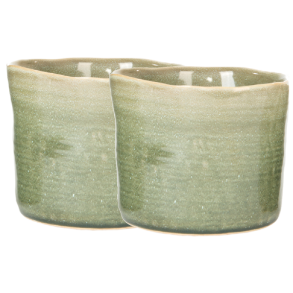 Indoor Ancient Pot Covers - Green Large Set of 2