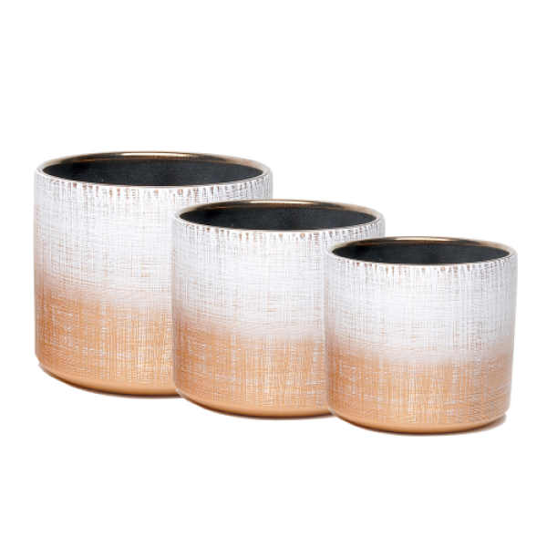 Indoor Shine Gold Pot Covers - Nest of 3