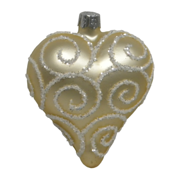 Luxury Christmas Baubles - Antique Golden Satin Heart with Silver Glitter Decoration