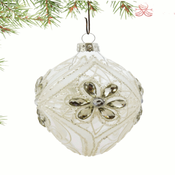 Luxury Christmas Baubles - Clear Glass with Silver Flower