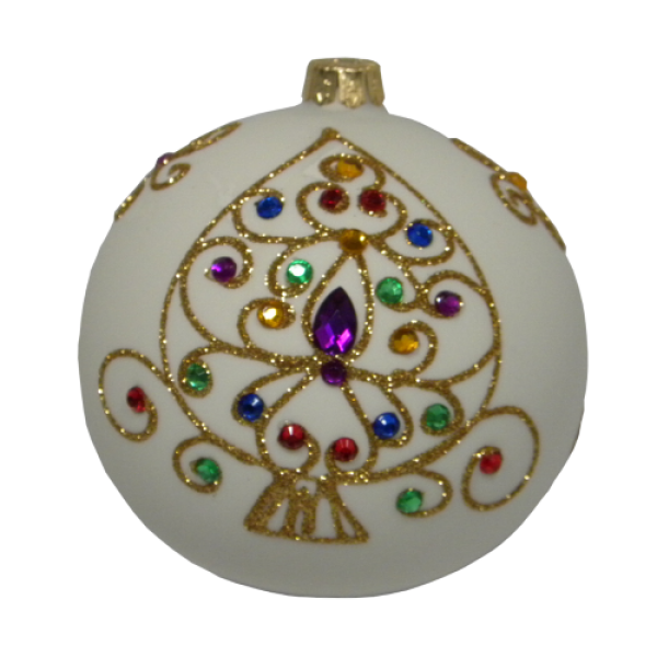 Luxury Christmas Baubles - Cream Matt with Golden Glitter and Colour Stones Decoration