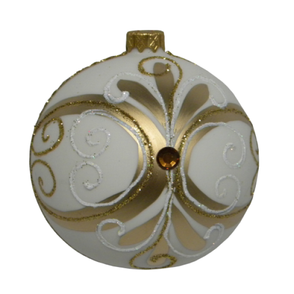 Luxury Christmas Baubles - Cream Matt with Golden Glitter and Stone Decoration