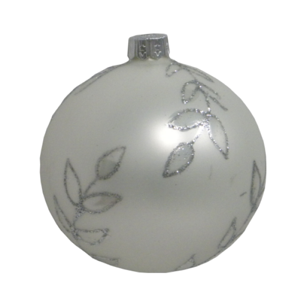 Luxury Christmas Baubles - Glass White Matt with Silver Flowers Decoration