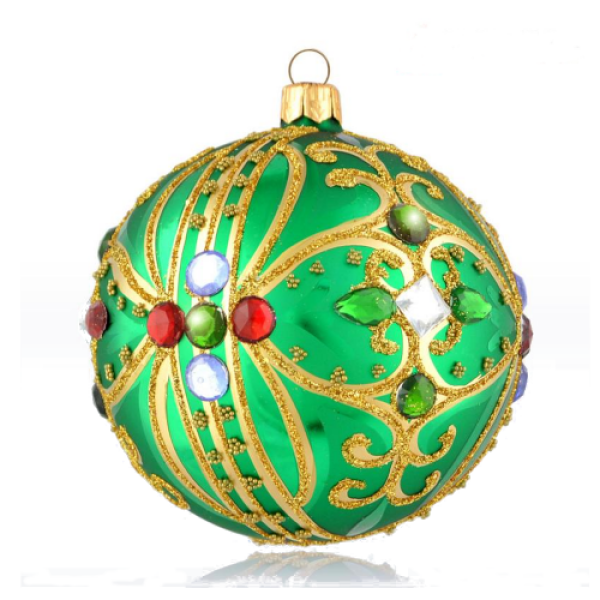 Luxury Christmas Baubles - Green with Golden Glitter Decoration