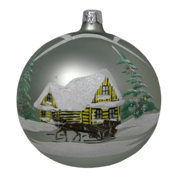 Luxury Christmas Baubles - MInt Green with Hand Painted Decoration