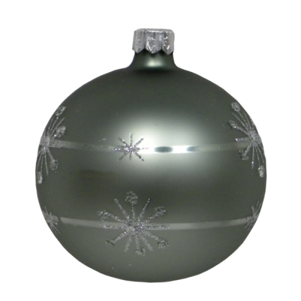 Luxury Christmas Baubles - MInt Green with Silver Glitter Decoration