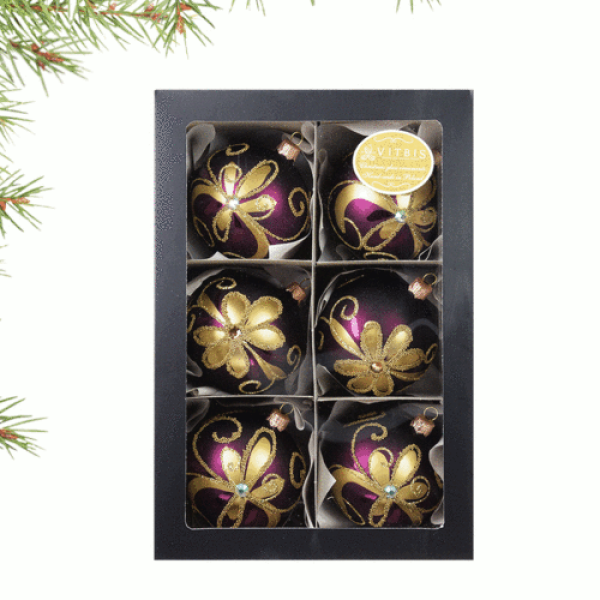 Luxury Christmas Baubles - Purple with Golden Flowers Decoration