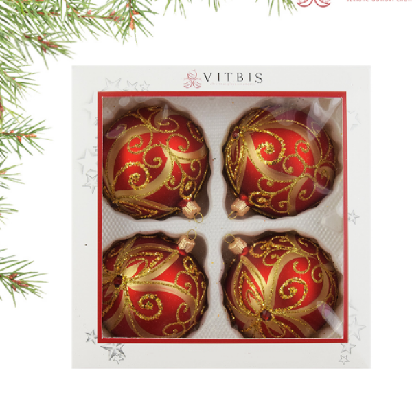 Luxury Christmas Baubles - Red with Golden Flowers Decoration