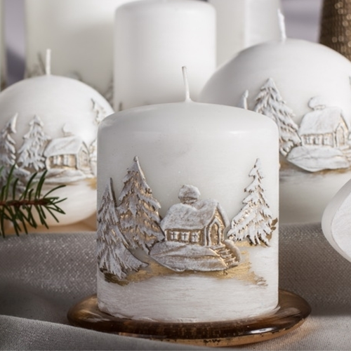 Christmas Candle Gift - Snow Pillar