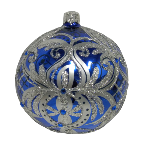 Luxury Christmas Baubles Blue with Silver Glitter and Flowers Decoration