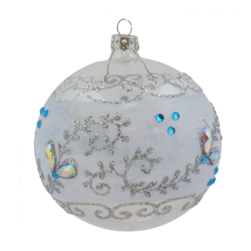 Luxury Christmas Baubles - Clear Glass with Silver Glitter