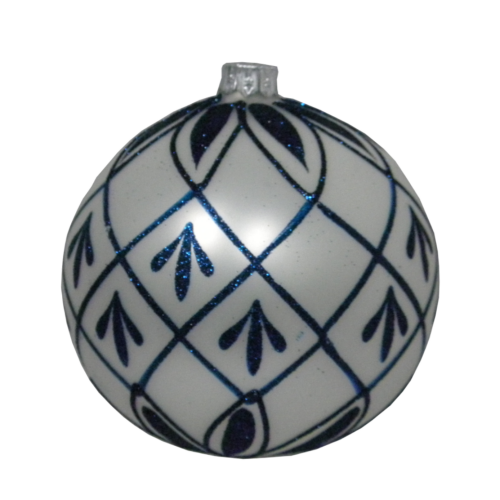 Luxury Christmas Baubles - White with Blue Glitter Decoration