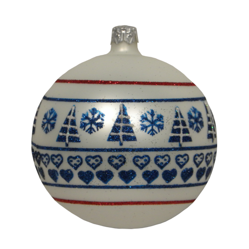 Luxury Christmas Baubles - White with Blue Glitter Heart Decoration
